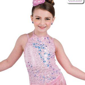 22944  Scattered Sequin Lace Kids Tap Jazz Dance Leotard