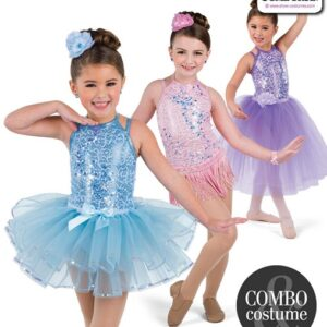 22944  Scattered Sequin Lace Kids Tap Jazz Dance Leotard Group