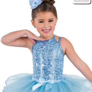 22944  Scattered Sequin Lace Kids Tap Jazz Dance Leotard Light Blue