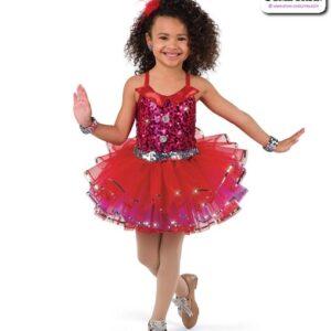 22947  Metallic Sequin Kids Tap Dance Costume Red