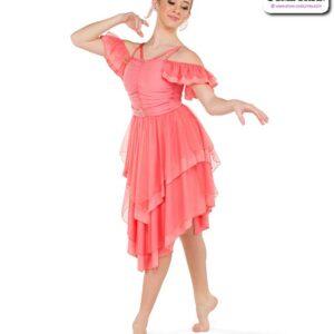 22950  Spandex Chiffon Lyrical Contemporary Dance Dress Coral
