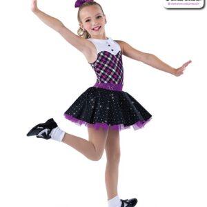 22951  Sequin Dot Plaid Kids Tap Dance Costume