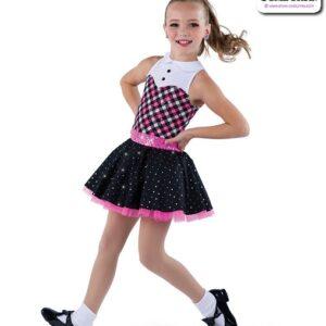 22951  Sequin Dot Plaid Kids Tap Dance Costume Bubblegum Pink
