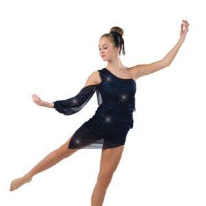 22952  Glitter Asymmetrical Lyrical Dance Dress Navy