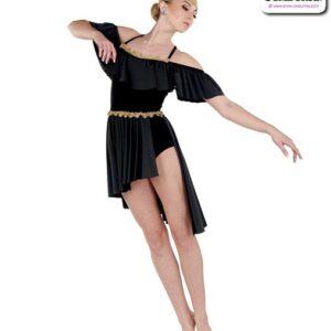 22954  Velvet Glossy Sapndex Lyrical Contemporary Dance Costume Black