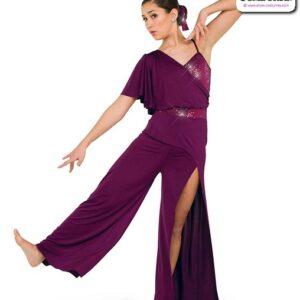 22955  Sequin Solid Spandex Lyrical Contemporary Dance Unitard Plum