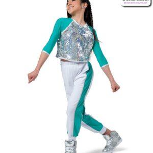 22957  Hologram Sequin Hip Hop Performance Costume Jade