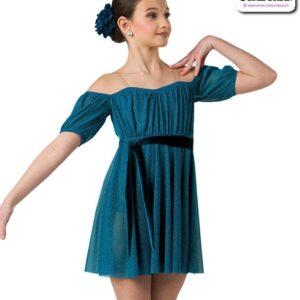 22959  Glitter Mesh Lyrical Contemporary Dance Dress Teal