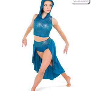 22960  Hooded Sequin Spandex Lyrical Contemporary Dance Costume