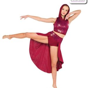 22960  Hooded Sequin Spandex Lyrical Contemporary Dance Costume Sangria