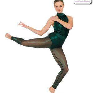 22961  Foil Mesh Acro Dance Unitard