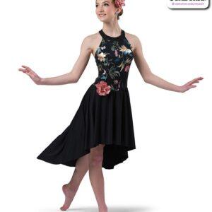 22962  Foil Floral Print Glossy Spandex Lyrical Contemporary Dance Dress