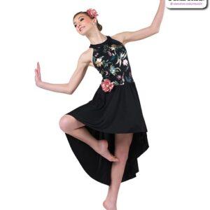 22962  Foil Floral Print Glossy Spandex Lyrical Contemporary Dance Dress A
