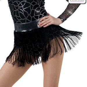 22963F  Foil Waistabnd Tap Jazz Dance Fringe Skirt Black