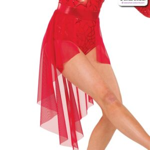 22963 SK  Highlow Tap Jazz Dance Mesh Skirt Red