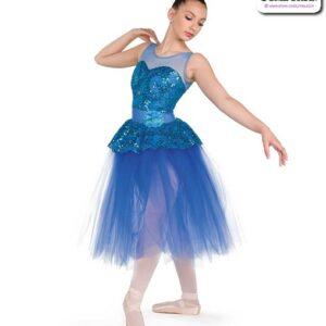 22965  Sequin Foil Lace Romantic Ballet Tutu Teal