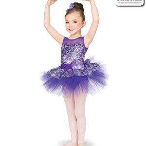 22966  Sequin Foil Lace Kids Performance Short Ballet Tutu