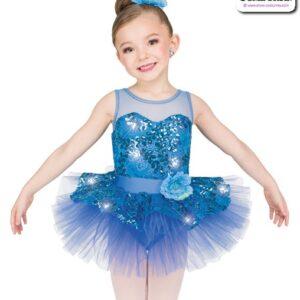 22966  Sequin Foil Lace Kids Performance Short Ballet Tutu Teal