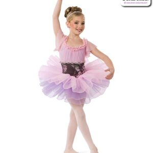 22968  Floral Ruched Lyrical Dance Dress