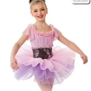 22968  Floral Ruched Lyrical Dance Dress A