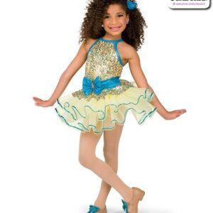 22969  Multicolour Sequin Mesh Kids Tap Dance Costume