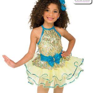 22969  Multicolour Sequin Mesh Kids Tap Dance Costume A