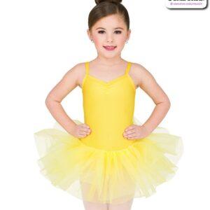 22972  Basic Elasticated Organza Short Tutu Yellow Full