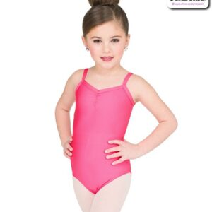 22972  Basic Spandex Cami Ruched Ballet Leotard Pink