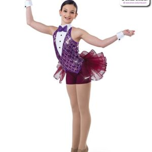 22973  Square Pattern Sequin Jazz Dance Shortall Merlot