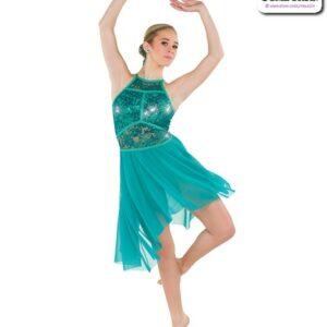 22976  Sequin Stretch Lace Lyrical Contemporary Dance Dress Jade