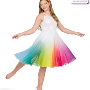 22978  Rainbow Ombre Mesh Lyrical Contemporary Dance Dress