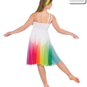 22978  Rainbow Ombre Mesh Lyrical Contemporary Dance Dress Back
