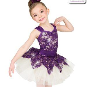 22979  Sequin Stretch Lace Kids Performance Short Ballet Tutu Plum