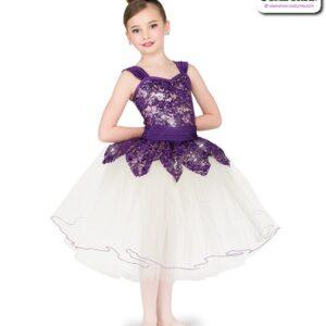 22980  Sequin Stretch Lace Romantic Ballet Tutu Plum