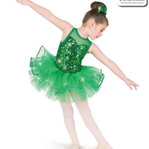 22982T  Sequin Organza Kids Tap Jazz Dance Tutu Skirt