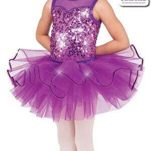 22982T  Sequin Organza Kids Tap Jazz Dance Tutu Skirt Purple