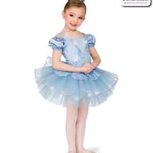 22983  Scattered Sequin Kids Performance Short Ballet Tutu Light Blue
