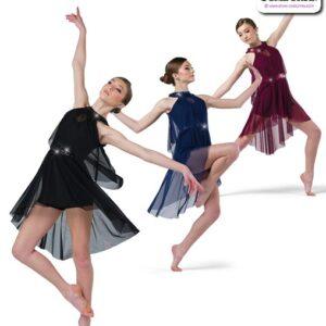 22990  Mesh Tunic Over Spandex Shortall Lyrical Contemporary Dance Costume