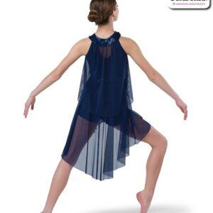 22990  Mesh Tunic Over Spandex Shortall Lyrical Contemporary Dance Costume Back