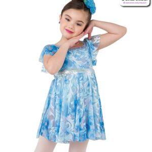 22991  Filagree Burn Out Kids Lyrical Dance Dress Light Blue