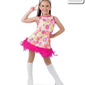 22992  Sequin Daisy Print Kids Jazz Dance Dress