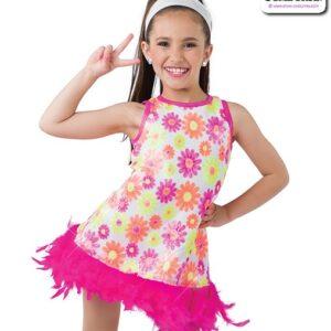 22992  Sequin Daisy Print Kids Jazz Dance Dress A