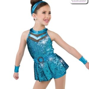 22993  Hologram Sequin Kids Jazz Dance Shortall Turqouise