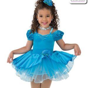 22995  Velvet Satin Kids Performance Short Ballet Tutu Turquoise A
