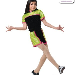 22996  Sequin Spandex Hooded Hip Hop Performance Costume