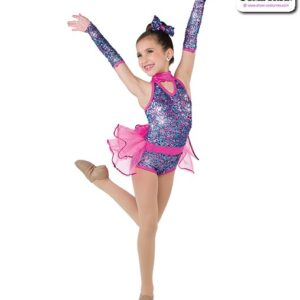 22997  Multicolour Luxe Sequin Kids Jazz Dance Shortall