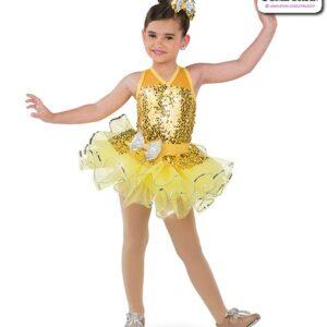 22999  Paillette Sequin Mesh Kids Tap Dance Costume