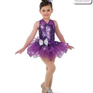 22999  Paillette Sequin Mesh Kids Tap Dance Costume Purple