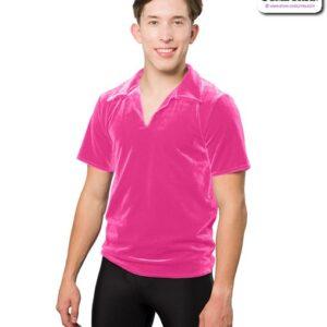 328G  Collared Guys Panne Velvet Dance Shirt Fuchsia