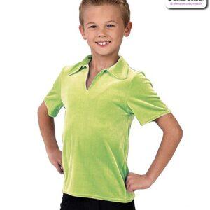 328G  Collared Guys Panne Velvet Dance Shirt Spring Green